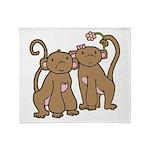 Cute Monkey Couple Throw Blanket