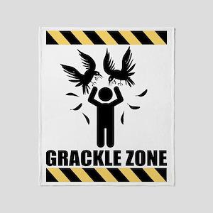 Grackle Zone Warning Throw Blanket
