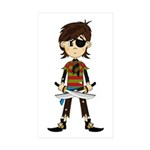 Little Eyepatch Pirate Sticker (Rectangle 10 pk)