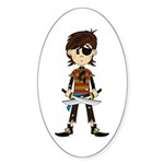 Little Eyepatch Pirate Sticker (Oval 10 pk)