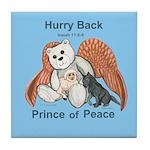 Peace Angel Bear Tile Coaster