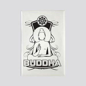 Buddha and the Dharma Wheel Rectangle Magnet