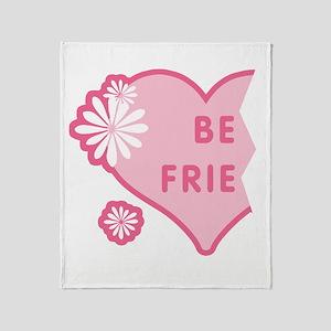 Pink Best Friends Heart Left Throw Blanket