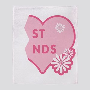 Pink Best Friends Heart Right Throw Blanket