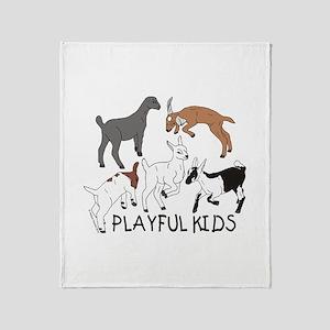 Playful Goat Kids Throw Blanket