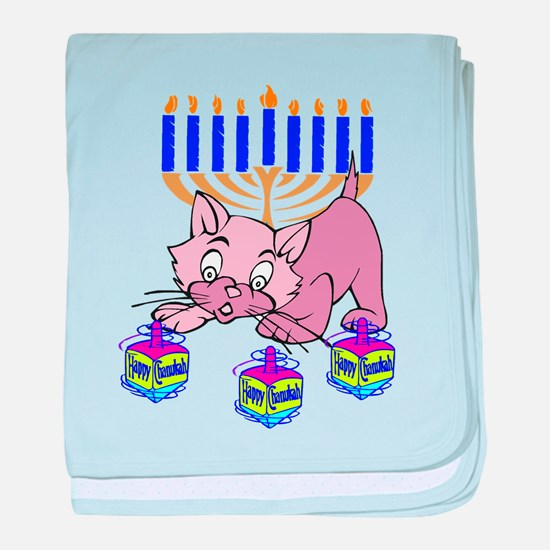 Hanukkah Dreidel Cat baby blanket