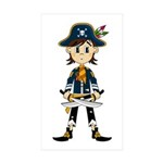 Little Pirate Captain Sticker (Rectangle 10 pk)
