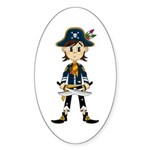 Little Pirate Captain Sticker (Oval 50 pk)