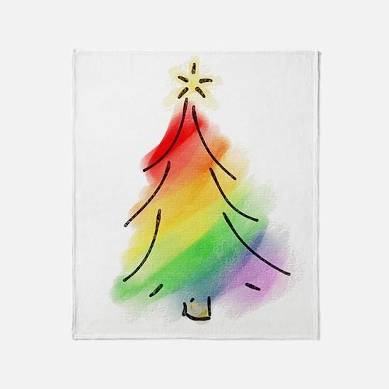 Rainbow Holiday Tree Throw Blanket