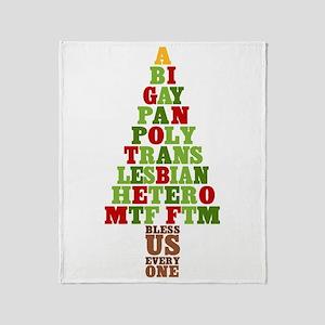 Diversity Christmas Tree Throw Blanket