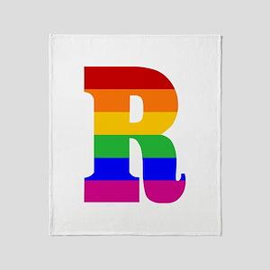 Rainbow Letter R Throw Blanket
