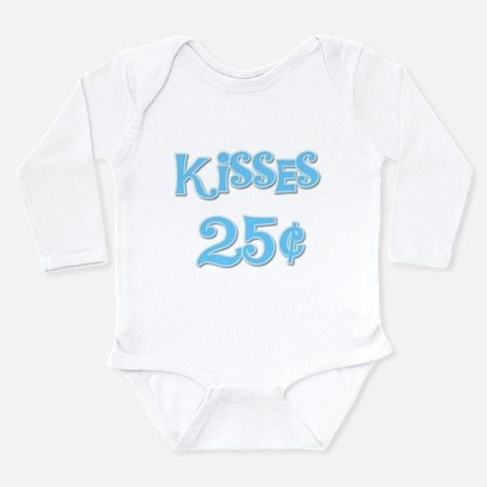 Kisses 25 Cents Blue Long Sleeve Infant Bodysuit