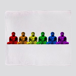 Row of Rainbow Buddha Statues Throw Blanket