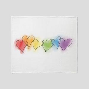 Rainbow Hearts Throw Blanket