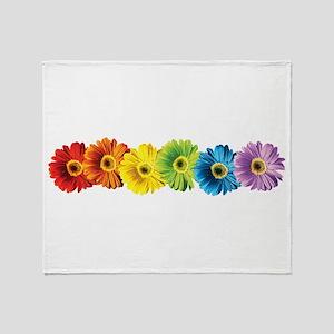 Rainbow Daisies Throw Blanket