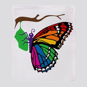 Rainbow Butterfly Emerging Fr Throw Blanket