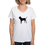 Bloodhound Silhouette Women's V-Neck T-Shirt