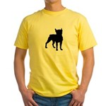 Boston Terrier Silhouette Yellow T-Shirt