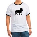 Bulldog Silhouette Ringer T