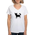 Chihuahua Silhouette Women's V-Neck T-Shirt
