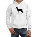 Doberman Pinscher Silhouette Hooded Sweatshirt