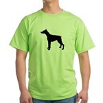 Doberman Pinscher Silhouette Green T-Shirt