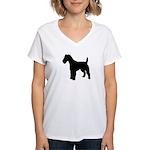 Fox Terrier Silhouette Women's V-Neck T-Shirt