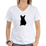 French Bulldog Silhouette Women's V-Neck T-Shirt