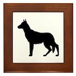 German Shepherd Silhouette Framed Tile