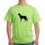 German Shepherd Silhouette Green T-Shirt