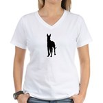 Great Dane Silhouette Women's V-Neck T-Shirt