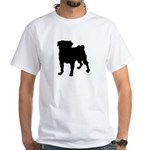 Pug Silhouette White T-Shirt