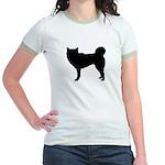 Siberian Husky Silhouette Jr. Ringer T-Shirt