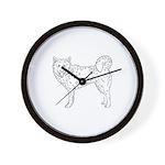 Siberian Husky Outline Wall Clock