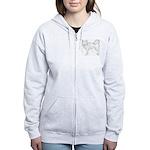 Siberian Husky Outline Women's Zip Hoodie