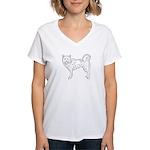 Siberian Husky Outline Women's V-Neck T-Shirt