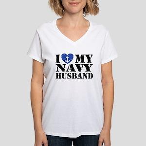 I Love My Navy Husband Women's V-Neck T-Shirt