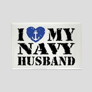 I Love My Navy Husband Rectangle Magnet