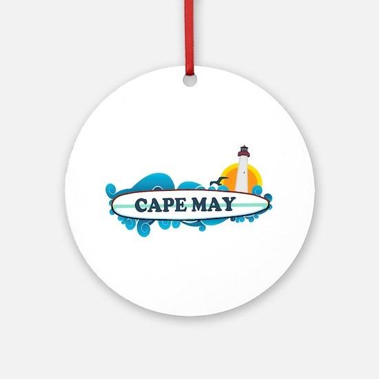 Cape May NJ - Surf Design Ornament (Round)