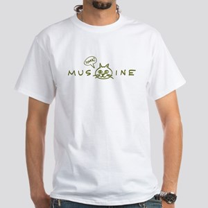 MusCATine (olive) White T-Shirt