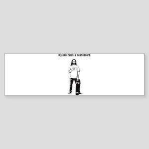 My God Rides a Skateboard Sticker (Bumper)
