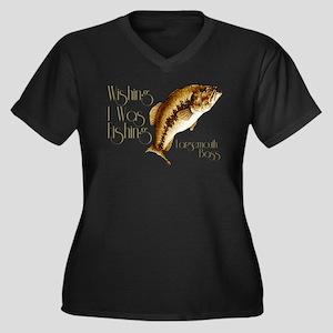Wishing I Was Fishing Women's Plus Size V-Neck Dar