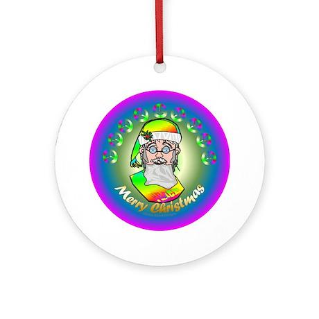 TieDye Santa Merry Christmas/Ornament (Round)