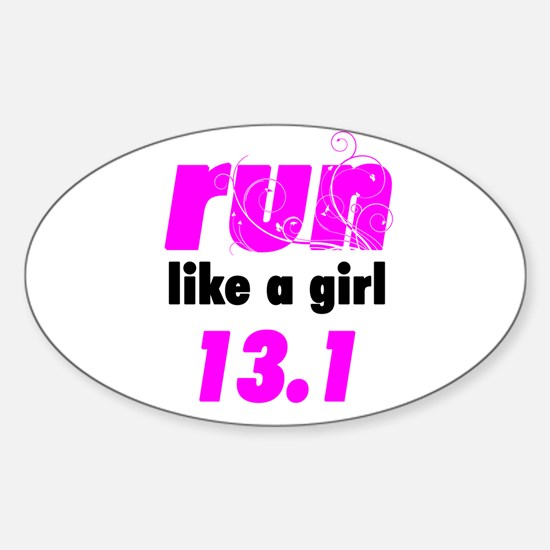 Run Like A Girl 13.1 Sticker (Oval)