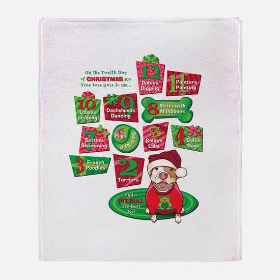 12 Dogs of Christmas Throw Blanket