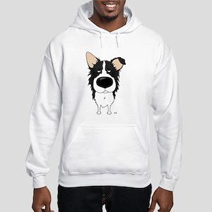Big Nose/Butt Border Collie Hooded Sweatshirt