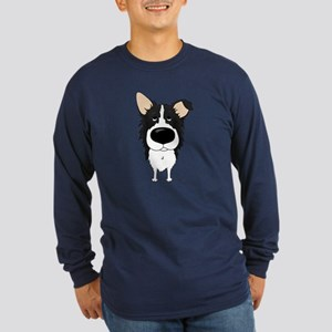 Big Nose Border Collie Long Sleeve Dark T-Shirt