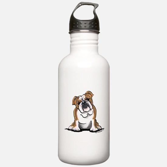 Brown White Bulldog Water Bottle