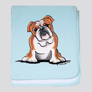 Brown White Bulldog baby blanket