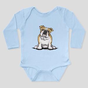 Cute English Bulldog Long Sleeve Infant Bodysuit